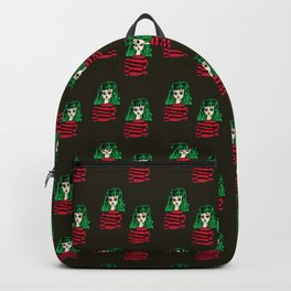 girl with green hair pattern brown Backpack