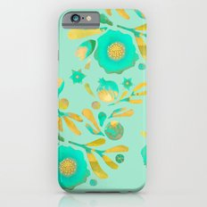 Granada Floral in Aqua on aqua iPhone 6s Slim Case