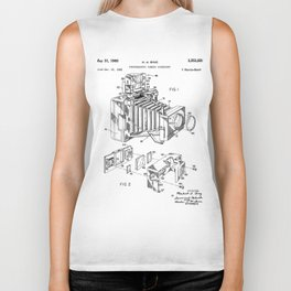 Vintage Camera Patent - Photographic Camera Art - Black And White Biker Tank
