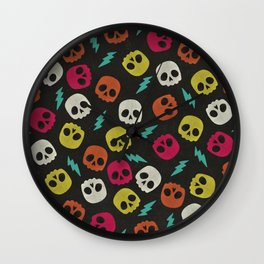 Colorful Skull And Lightning Bolt Pattern Wall Clock