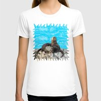 otters T-shirts featuring Where the River Meets the Sea Otters by Distortion Art