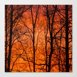 Leafless Trees At October Sunrise #decor #buyart #society6 Canvas Print