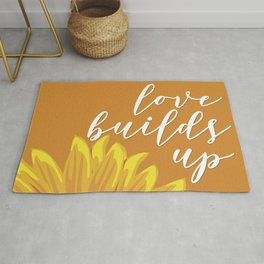 Love Builds Up - Yellow Sunflower Rug