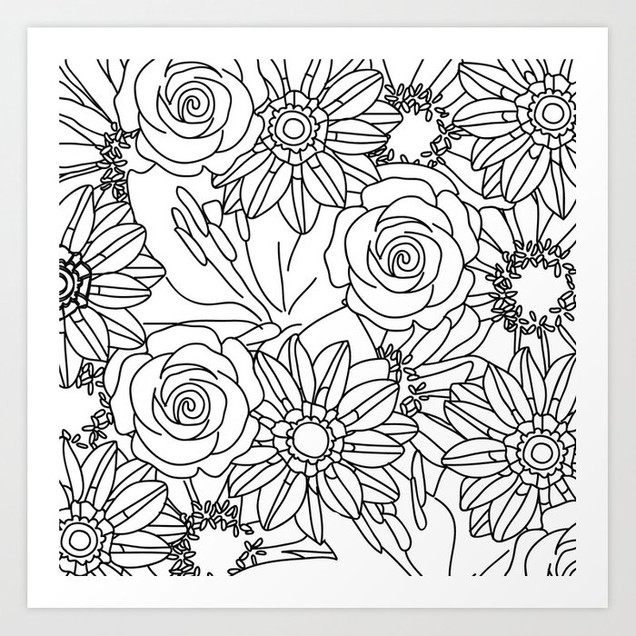 FLOWERS OF SUMMER B/W COLOUR IN Art Print By Jessicaslater