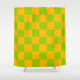 Lime Green & Golden Yellow Chex 2 Shower Curtain