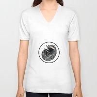 badger V-neck T-shirts featuring Badger by Natalie Toms Illustration