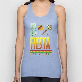 Life is a Fiesta Graphic Mexican Party T-shirt Unisex Tank Top