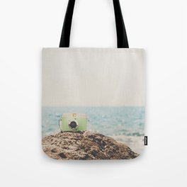 """the """"dreamer"""", a mint green camera with the ocean behind it Tote Bag"""