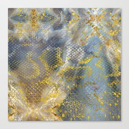 Faux gold snake skin texture on  marble Canvas Print