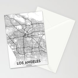 Minimal City Maps - Map Of Los Angeles, California, United States Stationery Cards