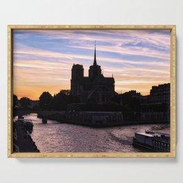 Sunset on Notre Dame de Paris - Paris, France Serving Tray