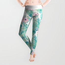 Modern summer tropical blush pink green watercolor floral Leggings