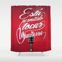 guitar Shower Curtains featuring Guitar!! by Jose Gallardo Bernal
