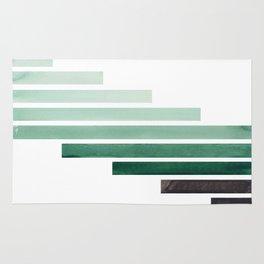 Deep Aqua Green Midcentury Modern Minimalist Staggered Stripes Rectangle Geometric Aztec Pattern Wat Rug