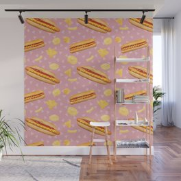 Hot Dogs and Chips - on Pink Wall Mural