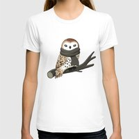 tote T-shirts featuring Winter Owl by Freeminds