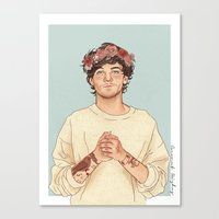coconutwishes Canvas Prints featuring Tommo Flower crown by Coconut Wishes