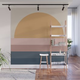 Minimal Retro Sunset - Neutral Wall Mural
