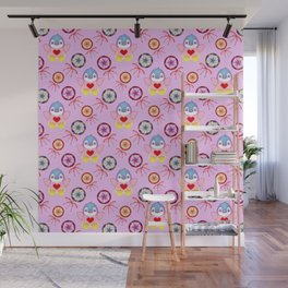 Cute happy winter baby penguins, retro vintage lollipops, sweet candy pink holiday pattern. Nursery. Wall Mural
