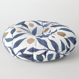 Watercolor berries and branches - indigo and beige Floor Pillow