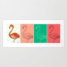 Fourmingos Art Print
