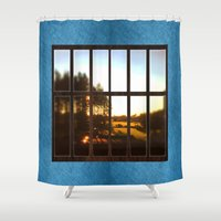the office Shower Curtains featuring Office imagination. by South43