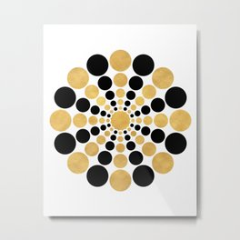 CIRCULAR BLACK AND GOLD SHAPE Metal Print