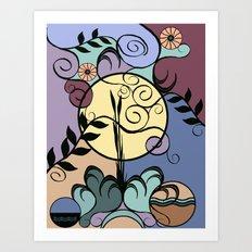Garden under June Moon Art Print