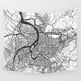 Taipei Map Gray Wall Tapestry