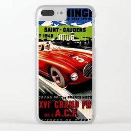 Vintage 1949 Le Comminges Grand Prix Racing Saint Gaudens Wall Art Clear iPhone Case