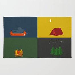 Camping Series: Canoe, Tent, Fire, Trees Rug