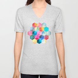 Crystal Bohemian Honeycomb Cubes - colorful hexagon pattern Unisex V-Neck