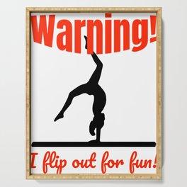 Gymnast Warning I FlipOut For Fun Gymnastics Balance Beam Serving Tray