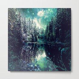 A Cold Winter's Night : Spearmint Teal Green Winter Wonderland Metal Print