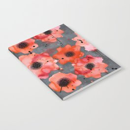 Watercolor poppies on gray background Notebook