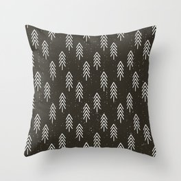 Pine Trees . Charcoal Throw Pillow