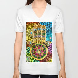 Hamsa Hand, hand of fatima, mandala, yoga art, mandala art, meditation art Unisex V-Neck