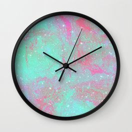 Teal Pink Marble Stars Wall Clock