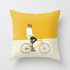 The Yellow Bike Throw Pillow