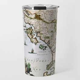 Map Of Albania 1654 Travel Mug