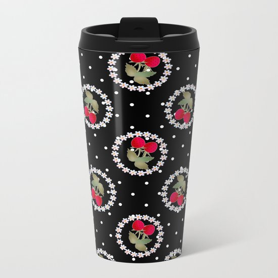 Floral pattern retro . Strawberry. Metal Travel Mug