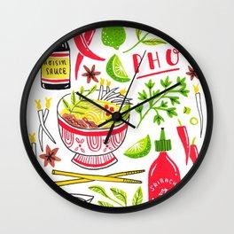 Vietnamese Pho Soup Sriracha Wall Clock