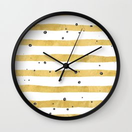Modern hand painted yellow gold black watercolor splatters stripes Wall Clock