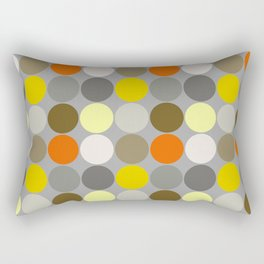 Mid-Century Giant Dots, Gray, Gold and Orange Rectangular Pillow