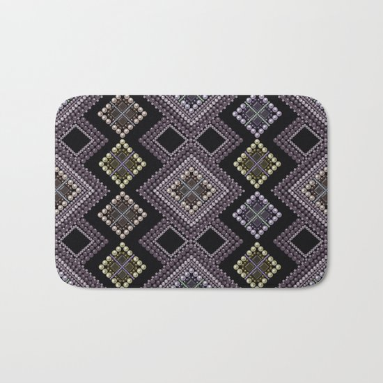 Folk beads circles ethnic pattern Bath Mat