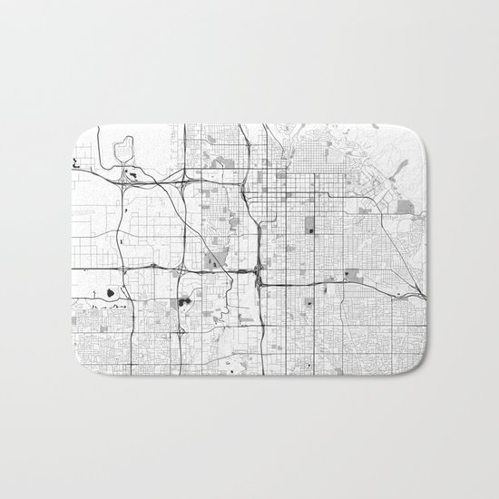 Salt Lake City Map Gray Bath Mat