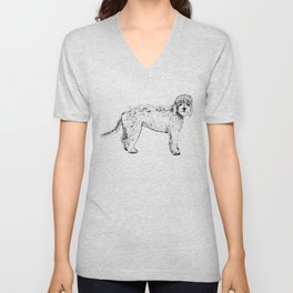Labradoodle/Goldendoodle Ink Drawing Unisex V-Neck