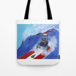 Christmas Surfing Weimaraner Tote Bag