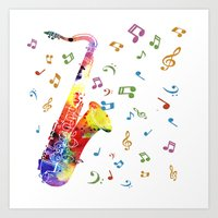 saxophone Art Prints featuring Saxophone by Miss L in Art