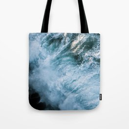 Wave in Ireland during sunset - Oceanscape Tote Bag